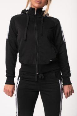 Αθλητική ζακέτα με ρίγες και κουκούλα μαύρη