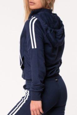 Αθλητική ζακέτα με ρίγες και κουκούλα μπλε