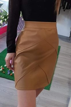 Mini φούστα με διακοσμητικές ραφές μπεζ