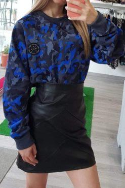 Mini φούστα με διακοσμητικές ραφές μαύρη